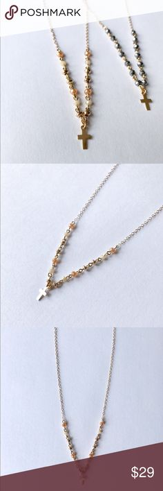 NWT ✨14k Gold Filled Champagne Cross Necklace This delicate cross necklace is a beauty! It comes in two different versions. Please see other listing for silver version.  All jewelry comes from my Etsy shop, ShopKLLO! ✨18 inches long  Champagne, ivory glass beading 14k gold filled chain, cross, beads  ✨10 % of profits from jewelry sales are donated to the Bags of Hope New England Organization. They provide children in the foster care system with a personalized monogrammed duffel bag filled…