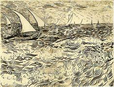 Vincent van Gogh Drawing, Reed pen Arles: 1888 Kupferstichkabinett Berlin, Germany, Europe F: JH: 1505 Image Only - Van Gogh: Fishing Boats at Sea Vincent Van Gogh, Van Gogh Drawings, Van Gogh Paintings, Artist Van Gogh, Van Gogh Art, Art Van, Van Gogh Zeichnungen, Desenhos Van Gogh, Drawing Apple