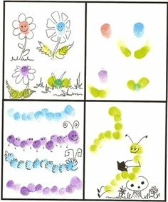 Fingerprint Bugs-  I made the catapiller with my grandson.  It turned out so cute!