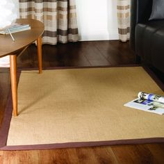 Natural Jute Rug with chocolate Border 160x230cms