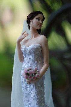 Miniature bride doll by Anna Hardman