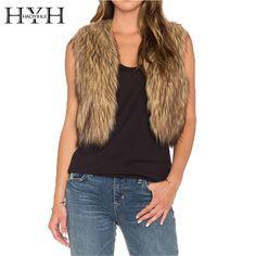 HYH HAOYIHUI 2016 Brand New Autumn Women Fashion Sleeveless Faux Fur Short Coat Slim Casual Chic Solid Camel Outwear