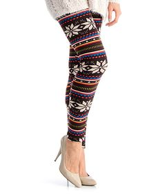 Loving this Black Snowflake Faux Fur-Lined High-Waist Leggings on #zulily! #zulilyfinds