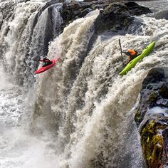 #Outdoors #Kayaking - The boys @rushsturges & Steve Fisher doing doubles on Drowning Drop, Iceland. @GoPro @tevashoes @watersheddrybags #livebetterstories