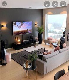 Living Room Colors, Contemporary Living Room Design, Apartment Decor, Simple Living Room Decor, Living Room Decor Apartment, Living Room Lighting, Apartment Living Room, Living Room Design Modern, Living Room Grey