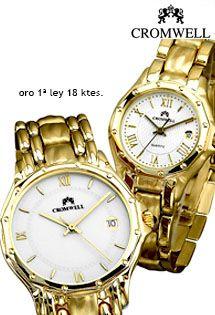 063df924a3fe Relojes de señora y caballero de oro de maquinaria suiza de cuarzo marca  Cromwell con caja