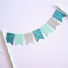 Bunting Cake Topper - Frozen Party - Silver, Mint Blue and Blue Glitter
