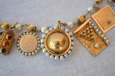 Vintage 14k fifties charm bracelet.