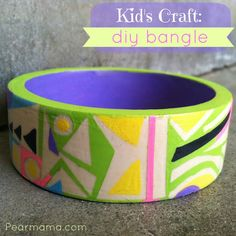 Easy DIY Bangle created with Apple Barrel paints and Mod Podge washout.