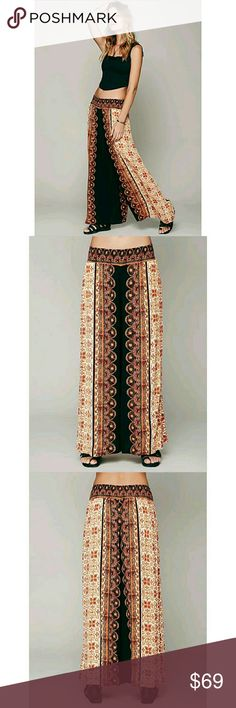 "FREE PEOPLE smocked wide leg boho palazzo pants Free People boho pants. Good condition.  Size: Small Model: Border Print Smocked wide leg Multi-color 100% Rayon 2 pockets elastic waistband   Flaws *Some minor discoloration at the bottom pant rims  Approx Measurements Inseam: 27.75"" Full pant Length: 37"" Waist (across front unstretched): 12"" Hips (across front): 22.5"" Rise: 10.25"" Leg opening: 17.5"" Free People Pants Wide Leg"