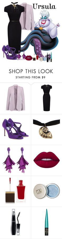 """Ursula- Modern"" by xxmonnyxx on Polyvore featuring Rebecca Minkoff, Roland Mouret, Jimmy Choo, Disney, Oscar de la Renta, Lime Crime, Tom Ford, Lancôme, MAC Cosmetics and modern"