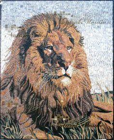 I covet this mosaic lion