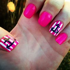 Nail design pink white and black plus anchors