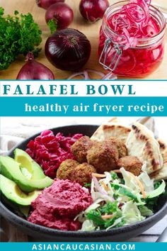 This flavorful Air Fryer Falafel Bowl is the best healthy summer salad! Crispy air-fried falafels, red beet hummus, Asian slaw, pickled red onions, and avocados are the perfect combo! This super healthy vegetarian meal if great for lunch or dinner. ENjoy!
