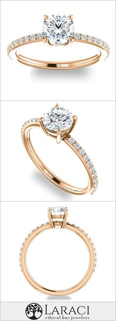 14K Rose Gold Petite Engagement Ring with Side Gems set with a 1ct 6.5mm Round Forever Brilliant
