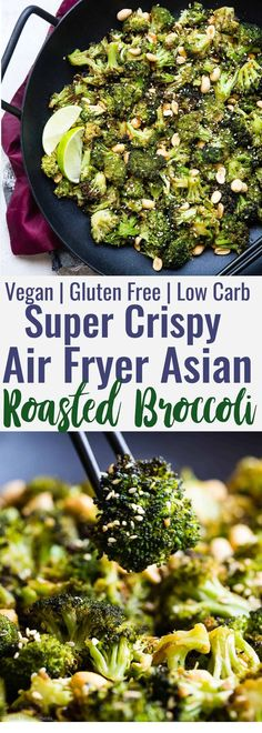 Air Fryer Roasted Asian Broccoli - add protein - This healthy, gluten free and low carb Asian broccoli has a spicy, Asian dressing to give a kick to your next meal! Sure to make your family LOVE vegetables and an oven roasted option is included! Air Fryer Oven Recipes, Air Fry Recipes, Side Dish Recipes, Asian Recipes, Air Fryer Recipes Gluten Free, Air Fryer Recipes Cauliflower, Asian Broccoli, Fried Broccoli, Vegetable Recipes
