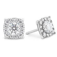 HOF Custom Halo Diamond Stud Earrings