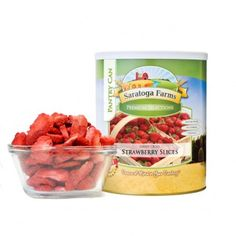 Freeze Dried Strawberry Slices - Pantry Can. Comes in a smaller can. Perfect for road trips and backpacks