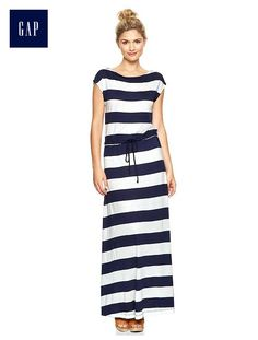 Stripe drawstring maxi dress