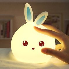 Cute Rabbit Night Light Colorful Touch Color Change USB Charging LED Lamp