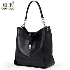 Ebay Qi Black Soft Genuine Leather Women Hobo Bag Gold Logo Work Handbag