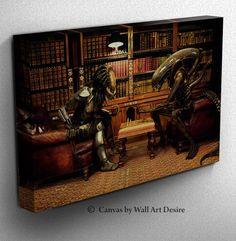 Alien vs Predator Chess Game Framed Canvas Print by WallArtDesire