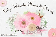 Vintage - Watercolor Elements by Lizamperini on Creative Market