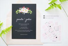 Hääkutsut / Custom made floral wedding invitations and map by www.makeadesign.fi / Floral garden wedding theme