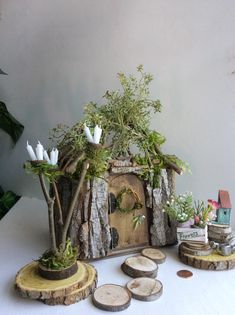 Fairy Cottage by Olive, Fairy House, Miniature Cottage ~ Includes All Fairy Accessories Shown Faerie, Fae House Indoor Fairy Gardens, Mini Fairy Garden, Fairy Garden Houses, Miniature Fairy Gardens, Fairy Crafts, Garden Crafts, Fairy Garden Furniture, Fairy Garden Accessories, Fairy Doors