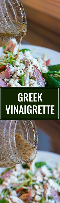 Homemade Greek Vinaigrette. This homemade salad dressing is delicious over salads, as a marinade and on a greek pizza! This healthy recipe packs a clean eating punch! | thebewitchinkitch...