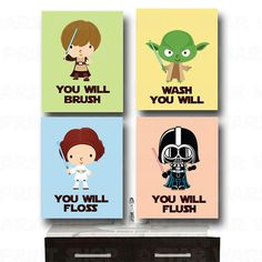 RESERVED for Lauren Star Wars Bathroom Wall by HeartworkMemories