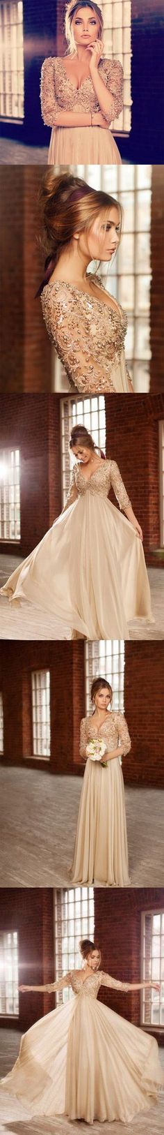 Beautiful Long Prom Dresses 2014 New Arrival Deep V-neck 34 Sleeves Beaded A-line Chiffon Evening Dresses
