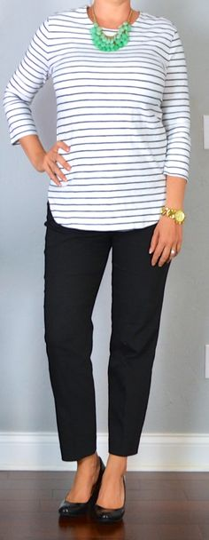 outfit post: striped top, black 'editor' ankle pants, black wedges | Outfit Posts Dynamic