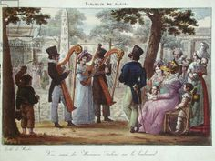 Italian Musicians Performing on a Boulevard in Paris, from 'Tableaux de Paris', c.1820 (colour litho)