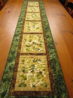 Quilted Table Runner Handmade 71 Long Table by PatchworkMountain Patchwork Table Runner, Table Runner And Placemats, Table Runner Pattern, Quilted Table Runners, Place Mats Quilted, Quilted Table Toppers, Handmade Table, Nature Decor, Nature Table