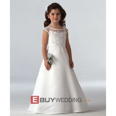 Pretty Full Length Lace First Communion Dress