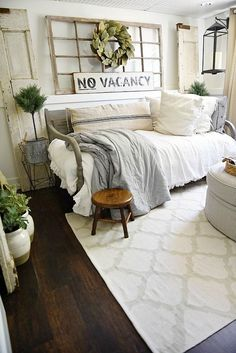 Guest bedroom makeover - See how this bedroom was turned into a dreamy farmhouse guest bedroom with all of the sources! A great blog for farmhouse decor inspiration! #homedecorideas