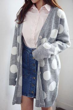 Dot Pattern Long Cardigan