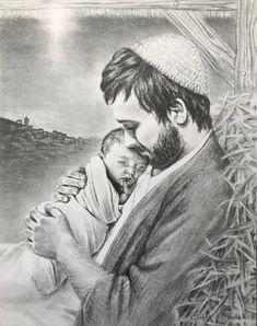 Joseph holding the baby Jesus // Nativity // Christmas drawing // Catholic Art, Catholic Saints, Religious Images, Religious Art, Jesus Drawings, Pictures Of Christ, Baby Jesus Pictures, Lds Art, Jesus Art