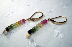 Tourmaline Earrings  Rainbow of Faceted by CoyoteRainbow on Etsy, $30.00