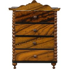 Early German False-grained Dollhouse Tall Chest of Drawers from carmeldollshop on Ruby Lane
