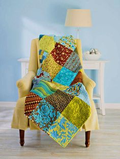 10 inch squares quilt.  Perfect for big print fabric!