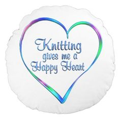 #Knitting Happy Heart Round Pillow - #knitting #gifts