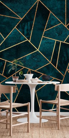 Deep Teal Stone wall mural from happywall #happywall #geometry #wallmurals #mural #wallpapers #wallmural #geometric #wallpaper #mosaic #lines #modern #teal
