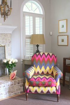 Take a moment to take a corner.   Make your corner come alive with vivid colors -- this chair really works.  PattyHughes Interiors