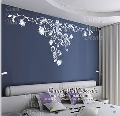 Gorgeous floral wall decals flower vinyl wall decals girl nursery wall decals sticker children wall decal- floral Z166 cuma USD49