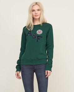 Womens Applique Logo Sweatshirt | Womens New Arrivals | Abercrombie.co.uk