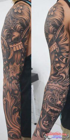 Balinese Barong and Rangda mask tattoo
