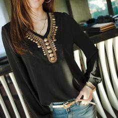 New Fashion Copper Sheet Long Sleeve Chiffon Shirt Blouse Tops Women's Girl   eBay