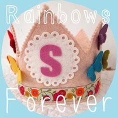 rainbow birthday crown - butterflies - wool felt  waldorf birthday party on Etsy, $32.00